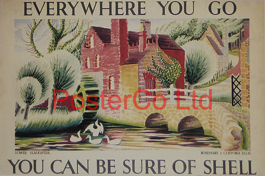 "Shell Advert - Wherever you go you can be sure of Shell - Lower Slaughter (1934) - Rosemary and Clifford Ellis - Framed Picture - 11""H x 14""W"