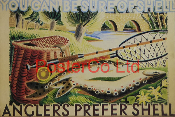 "Shell Advert - Anglers prefer Shell (1934) - Rosemary and Clifford Ellis - Framed Picture - 11""H x 14""W"