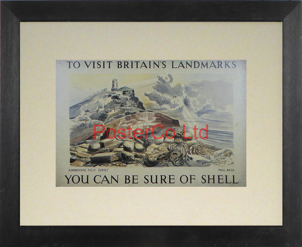 "Shell Advert - To Visit Britain's Landmarks, You can be sure of Shell - Kimmeridge Folly Dorset (1937) - Paul Nash - Framed Picture - 11""H x 14""W"