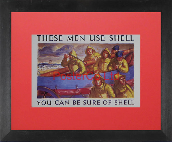 "Shell Advert - These Men Use Shell (1938) - Edward Ardizzone  - Framed Picture - 11""H x 14""W"