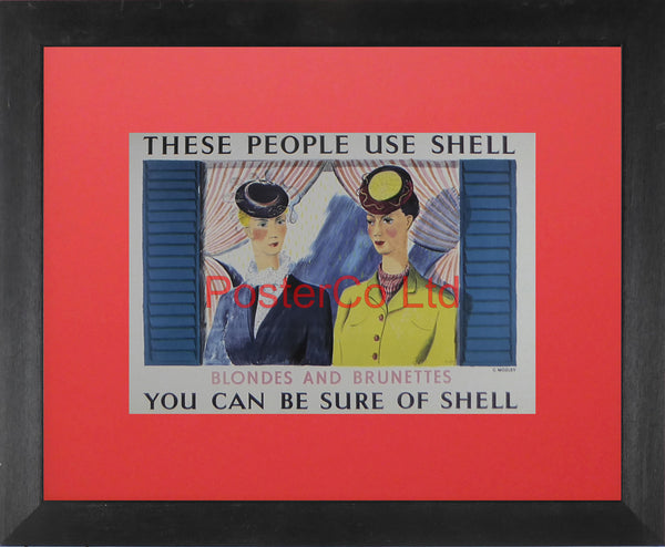 "Shell Advert - These People Use Shell - Blondes and Brunettes (1939) - Charles Mozley - Framed Picture - 11""H x 14""W"