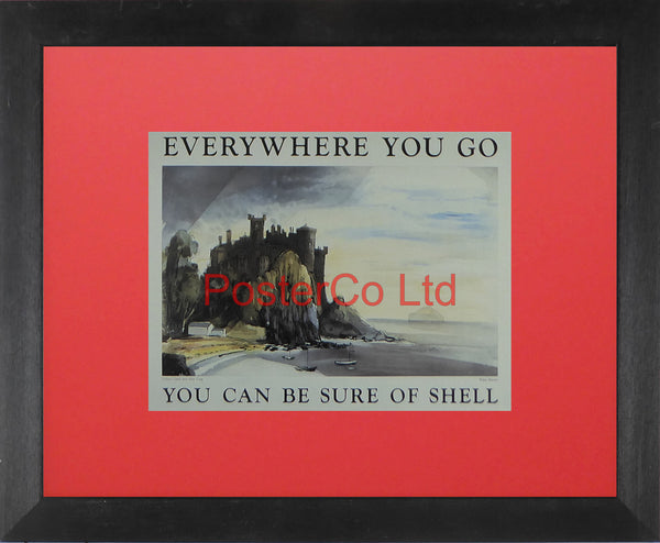 "Shell Advert - Everywhere you go You can be sure of Shell - Culzean Castle and Ailsa Craig (1952) - R Darwin - Framed Picture - 11""H x 14""W"