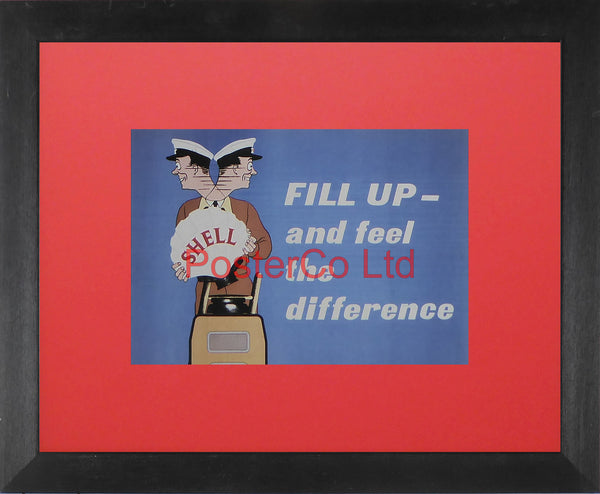 "Shell Advert - FILL UP and feel the difference (1952) - George Ayers - Framed Picture - 11""H x 14""W"
