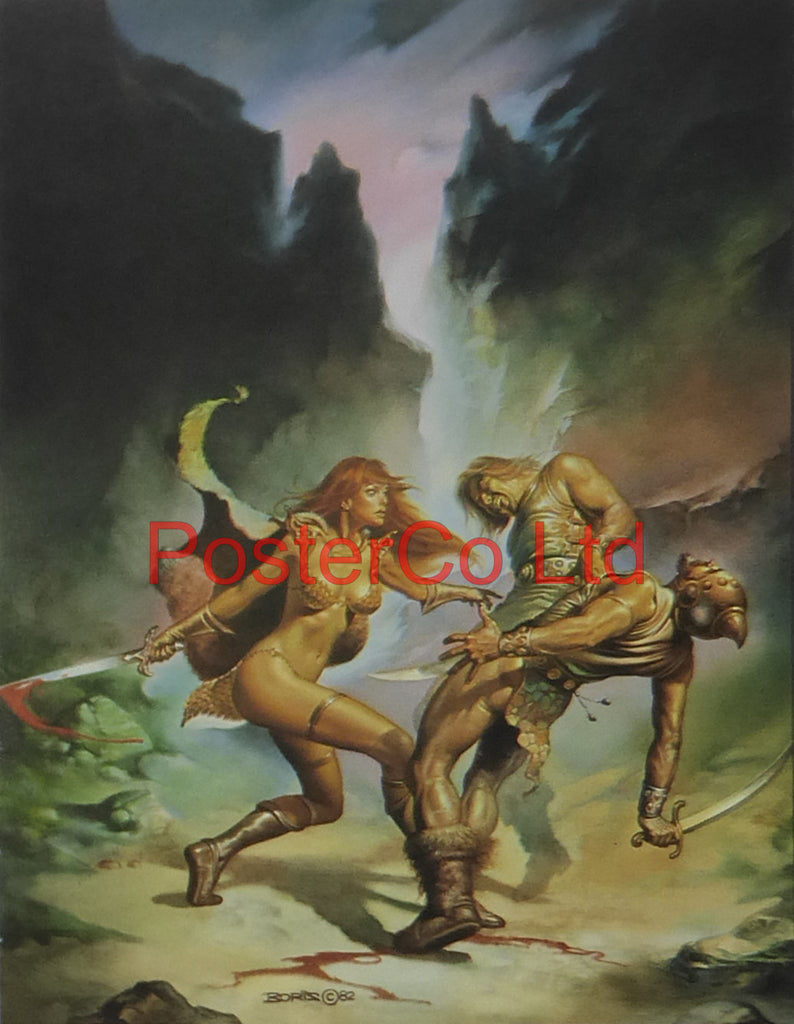 "When Hell Laughs / Red Amazon - Boris Vallejo - Framed Plate - 14""H x 11""W"