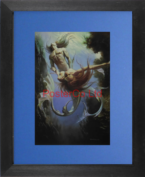 "The Triton and the Mermaid - Boris Vallejo - Framed Plate - 14""H x 11""W"