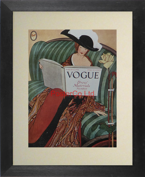 "Vogue Magazine Cover Art - Vogue Dress Materials, March 15 1912 - Framed Plate - 14""H x 11""W"