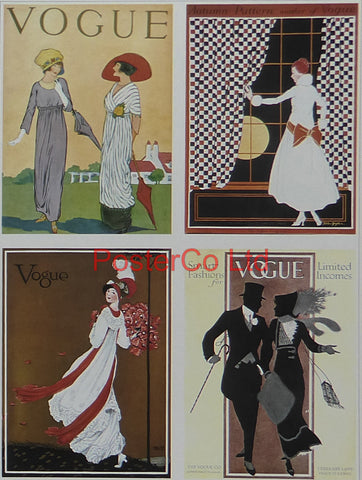 "Vogue Magazine Cover Art - Winter fashions 1914 - Framed Plate - 14""H x 11""W"