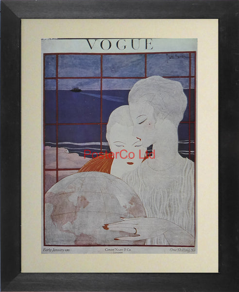 "Vogue Magazine Cover Art (British Edition) - January 1918 - Framed Plate - 14""H x 11""W"