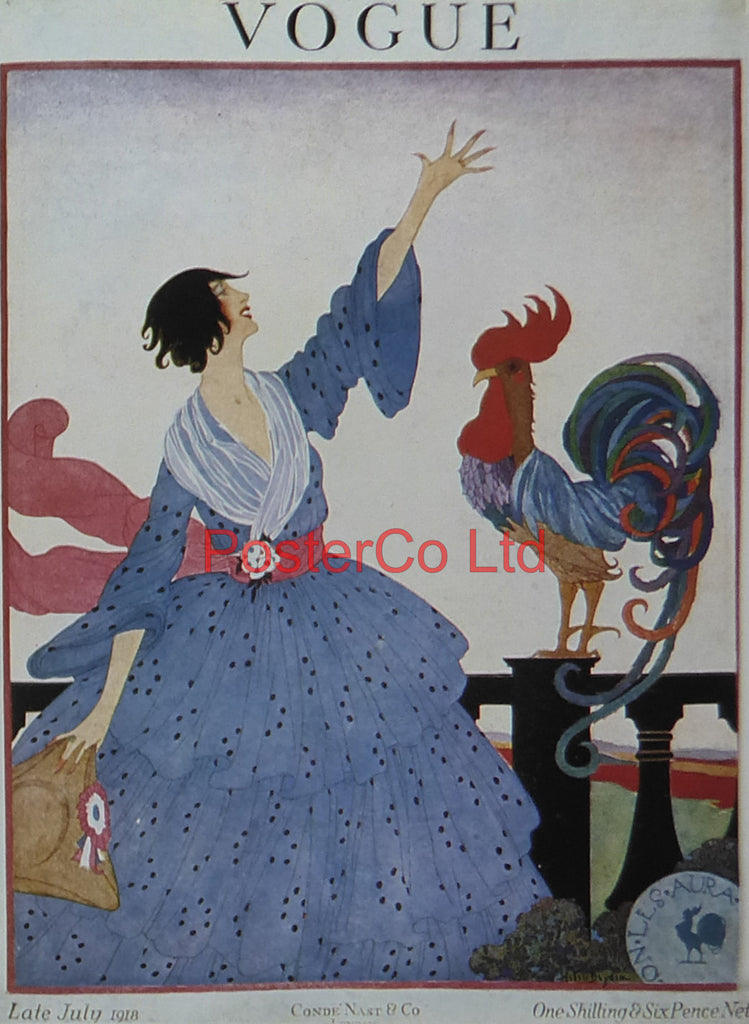 "Vogue Magazine Cover Art - July 1918, French Cockerel - Framed Plate - 14""H x 11""W"