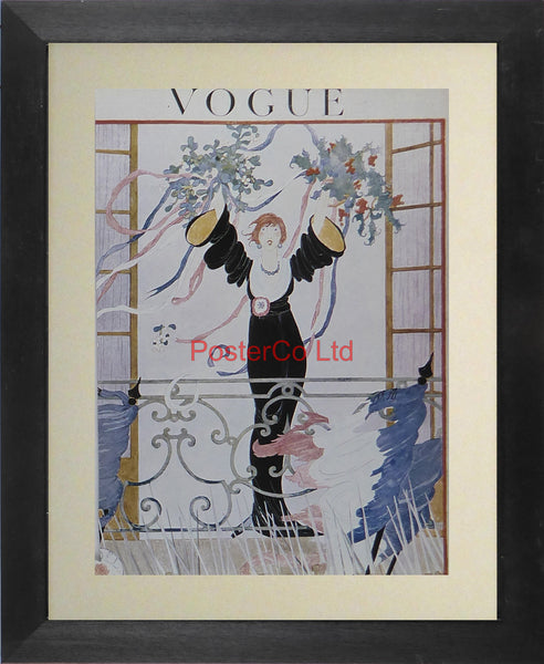 "Vogue Magazine Cover Art - Unknown Edition and Year - Framed Plate - 14""H x 11""W"