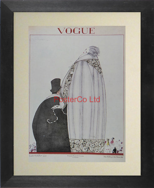 "Vogue Magazine Cover Art - October 1920 - Framed Plate - 14""H x 11""W"