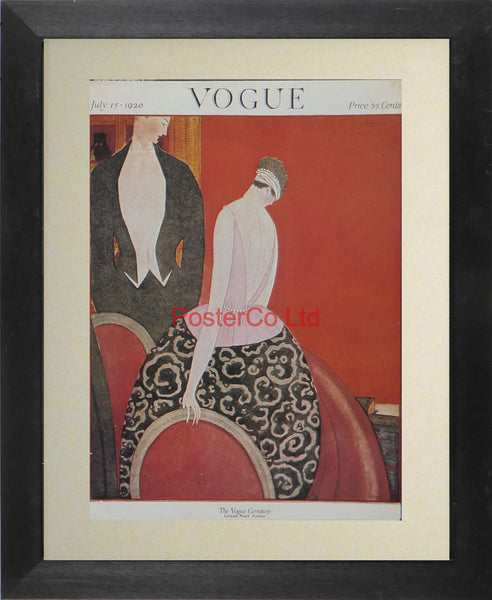 "Vogue Magazine Cover Art - July 1920 - Framed Plate - 14""H x 11""W"