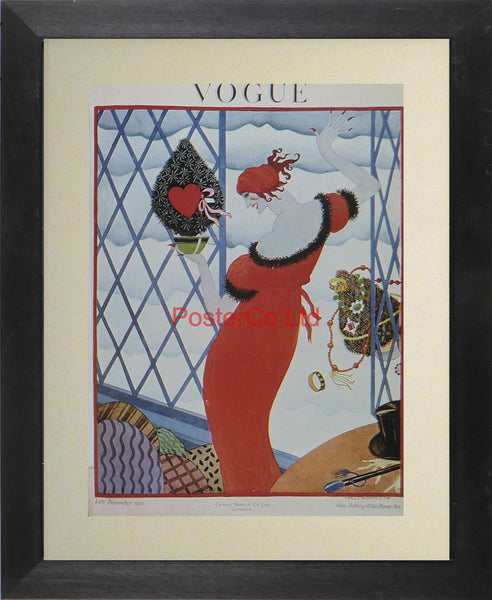 "Vogue Magazine Cover Art - December 1921 - Framed Plate - 14""H x 11""W"