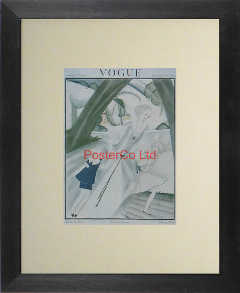 "Vogue Magazine Cover Art - Fashions for children, August 1921 - Framed Plate - 14""H x 11""W"