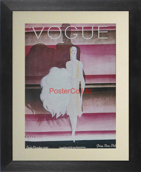 "Vogue Magazine Cover Art - October 1925 - Framed Plate - 14""H x 11""W"