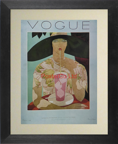 "Vogue Magazine Cover Art - Interior decoration, August 1926 - Framed Plate - 14""H x 11""W"