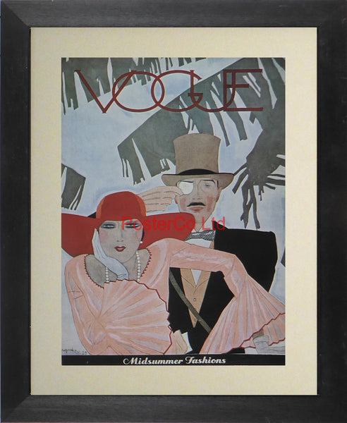 "Vogue Magazine Cover Art - Misummer fashions - Framed Plate - 14""H x 11""W"