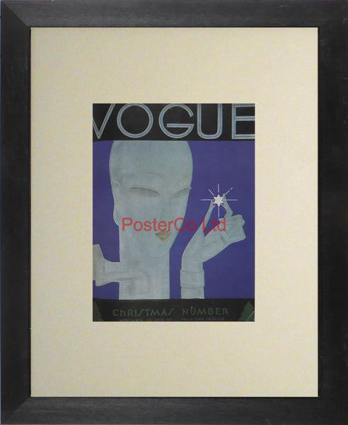 "Vogue Magazine Cover Art - Christmas number, November 1928 - Framed Plate - 14""H x 11""W"