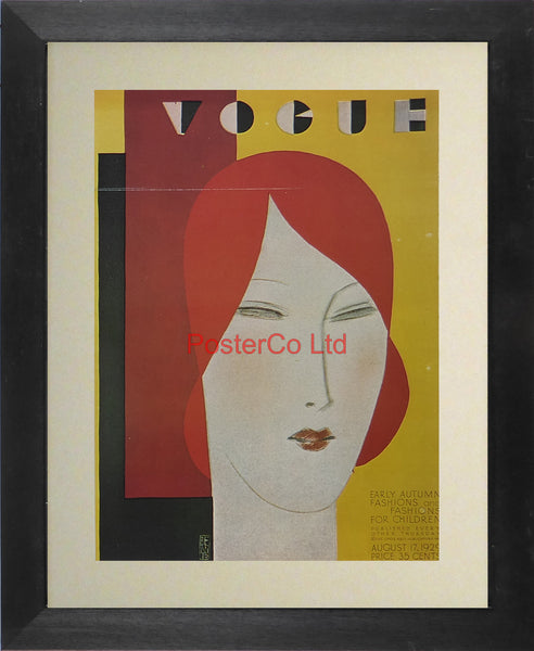 "Vogue Magazine Cover Art - Early Autumn fashions & fashions for children, August 1929 - Framed Plate - 14""H x 11""W"