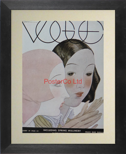 "Vogue Magazine Cover Art - Spring Millinery, February 19 1930 - Framed Plate - 14""H x 11""W"