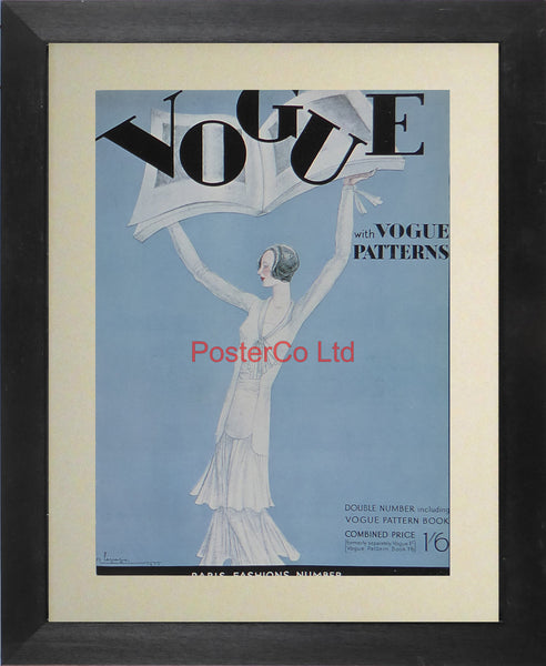 "Vogue Magazine Cover Art - Paris fashions number including Vogue pattern book - Framed Plate - 14""H x 11""W"