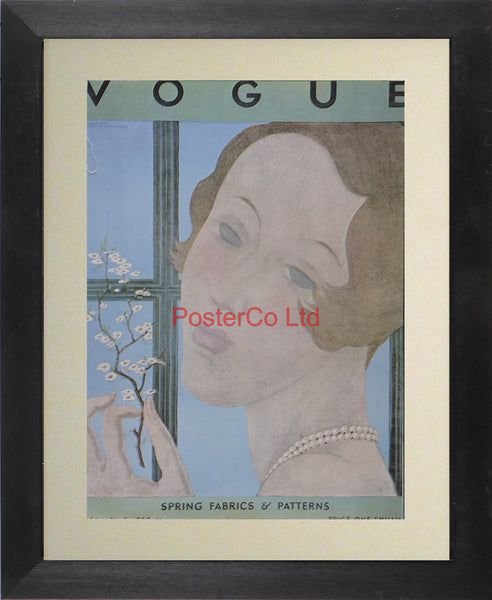 "Vogue Magazine Cover Art - Spring fabrics & patterns - Framed Plate - 14""H x 11""W"