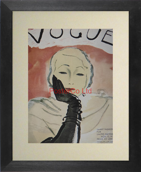 "Vogue Magazine Cover Art - Smart fashion for limited income, November 1930 - Framed Plate - 14""H x 11""W"