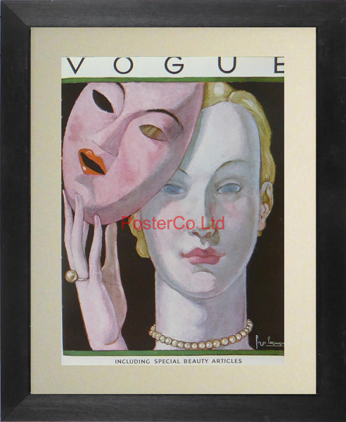 "Vogue Magazine Cover Art - Special Beauty Articles - Framed Plate - 14""H x 11""W"