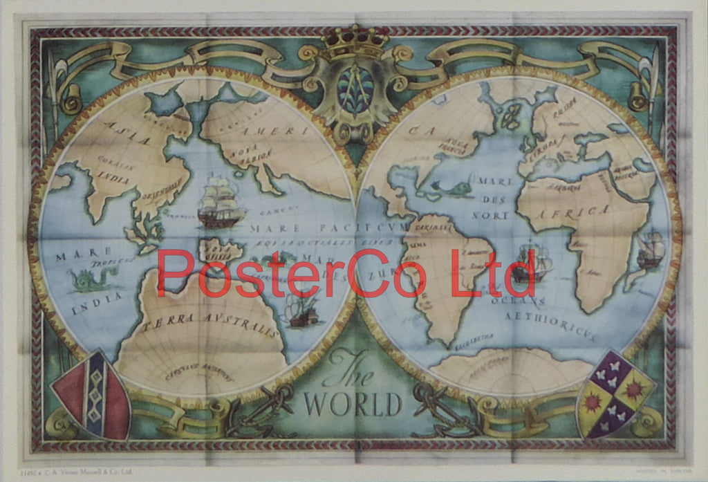 "The World Map - Framed Print - 11""H x 14""W"