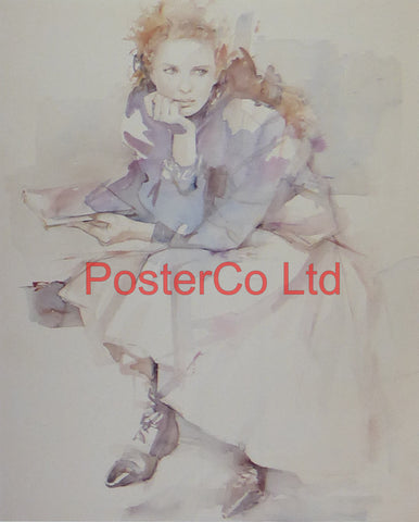 "Contemplation (Lady) - Christine Comyn - Felix rose 1989 - Framed Print - 14""H x 11""W"