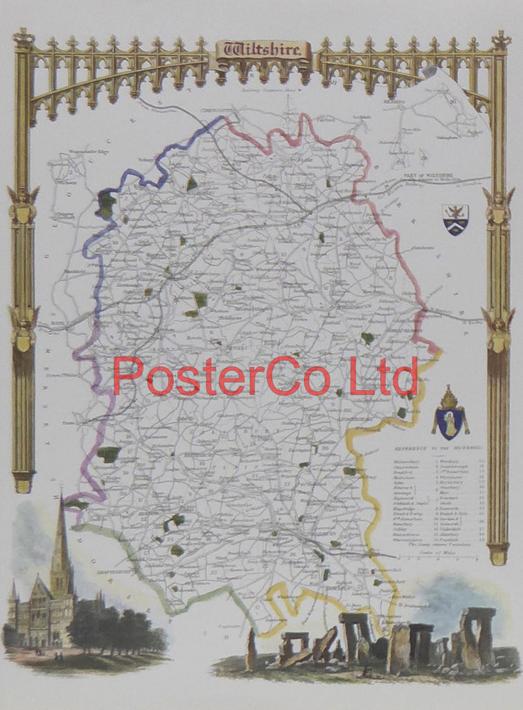 "Wiltshire Map - Framed Print - 14""H x 11""W"