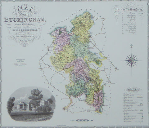 "Buckinghamshire Map by C & J Greenwood - Framed Print - 16""H x 20""W"