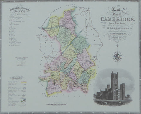 "Cambridgeshire Map by C & J Greenwood - Framed Print - 16""H x 20""W"