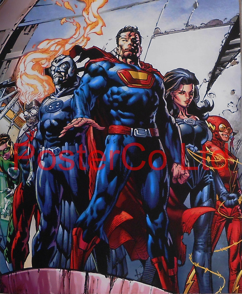 "Crime Syndicate (Johnny Quick, Power Ring, Superwoman, Ultraman, Owlman) - Framed Print - 16""H x 12""W"