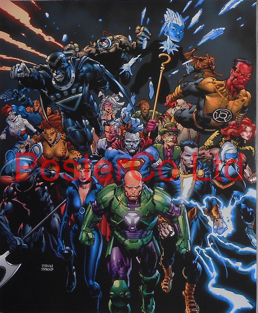 "Crime Syndicate: Forever Evil (Johnny Quick, Power Ring, Superwoman, Ultraman, Owlman) - Framed Print - 16""H x 12""W"