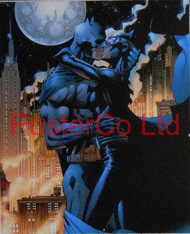 "Batman Kissing Catwoman (Batman Villain / Antihero) - Framed Print - 16""H x 12""W"