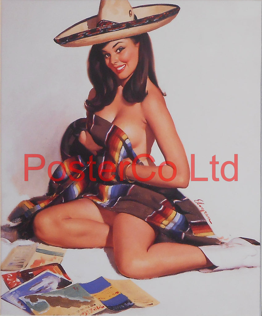 "Girl in Sombrero Pin Up (Gil Elvgren)  - Framed Picture - 16""H x 12""W"