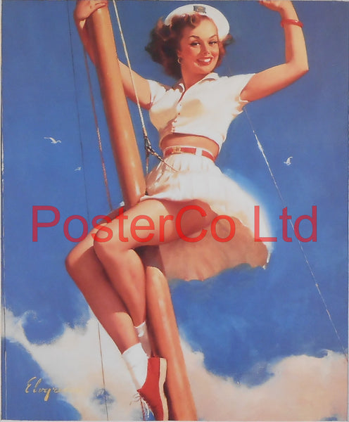 "Sail Boat Pin Up (Gil Elvgren)  - Framed Picture - 16""H x 12""W"