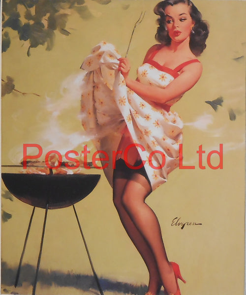 "Barbeque Pin Up (Gil Elvgren)  - Framed Picture - 16""H x 12""W"