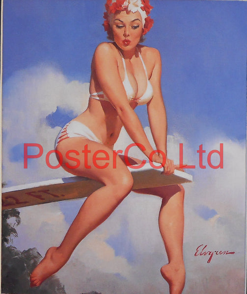 "Diving Board Swimmer Pin Up (Gil Elvgren)  - Framed Picture - 16""H x 12""W"