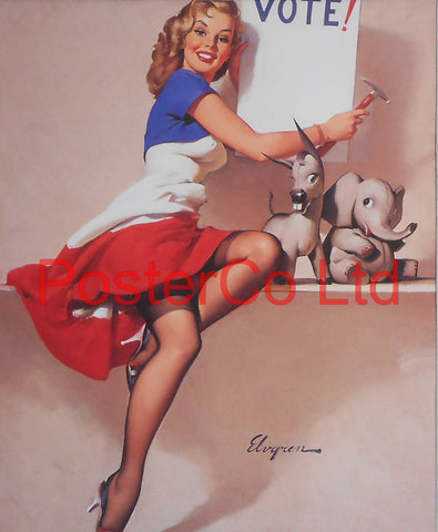 "Vote  Pin Up (Gil Elvgren)  - Framed Picture - 16""H x 12""W"