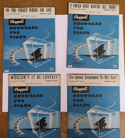 Chappell Showcase for Piano - My Fair Lady - 4 Song Sheets - Vintage