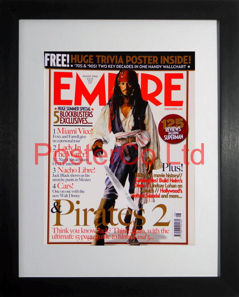 "Pirates of the Carribean Jack Sparrow Empire Cover August 2006 (Film Magazine)  - Framed 16""H x 12""W"