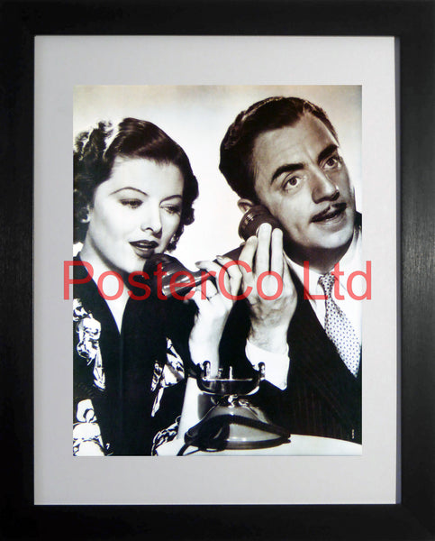 "William Powell and Myrna Loy publicity shot from the Thin Man - Framed Picture 16""H x 12""W"