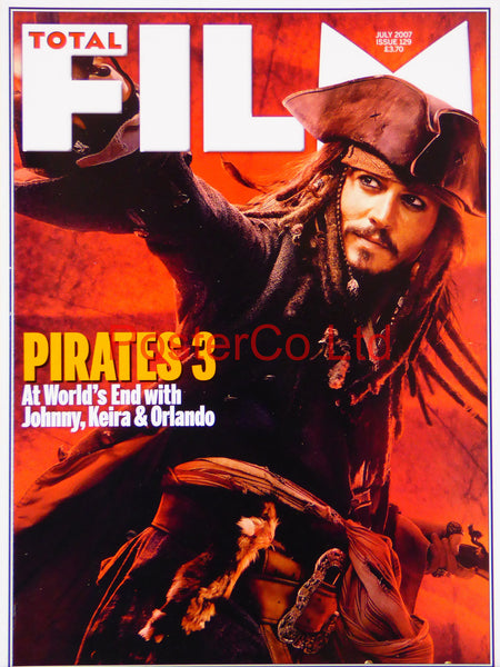 "Pirates of the Carribean Jack Sparrow Total Film cover July 2007 (Film Magazine)  - Framed 16""H x 12""W"