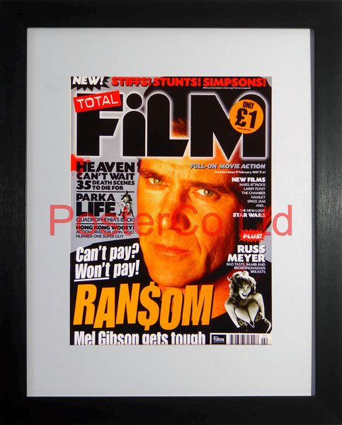 "Ransom Mel Gibson Total Film cover February 1997 (Film Magazine)  - Framed 16""H x 12""W"