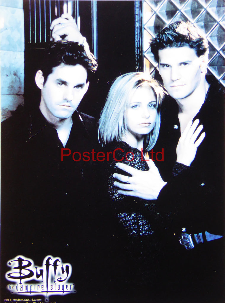 "Buffy the Vampire Slayer with Angel and Xander - Framed print 16""H x 12""W"