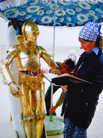 "Star Wars - A New Hope - Planet Tatooine / C-3PO - Behind the Scenes - Framed photo 16""H x 12""W"