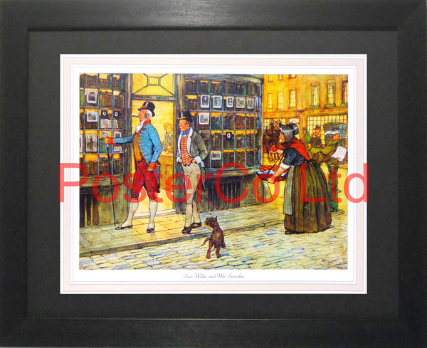 "The Pickwick Papers Scene - Sam Weller and Mrs Smauker - Charles Dickens - Framed Print - 12""H x 16""W"