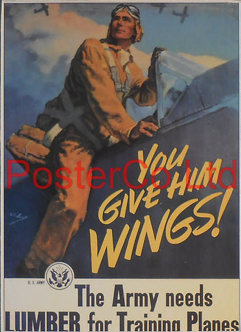 "American WWII Propaganda Poster - Airforce - You Give Him Wings - Framed Picture - 14""H x 11""W"